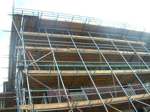 Scaffolding erected for a new build office block near Blackburn, Lancashire