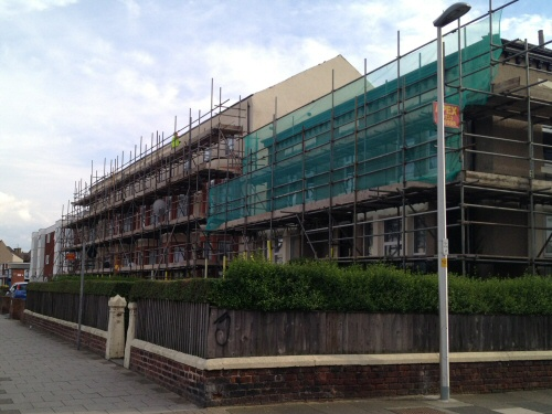 Scaffolding erected to a block of flats at Lytham Road, Blackpool, Lancashire
