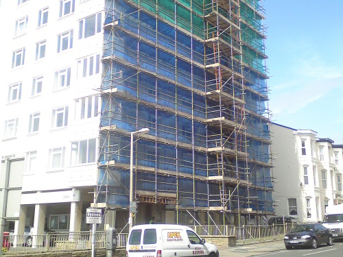 Apex scaffolding erected to 10 storey building, Blackpool