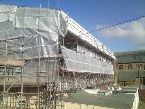 Large temporary roof to cover a terraced row of four hotels in Blackpool during extensive refurbishment and re-roofing