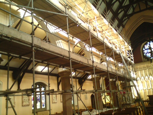 Interior access scaffolding to allow renovation works to a church near Kendal