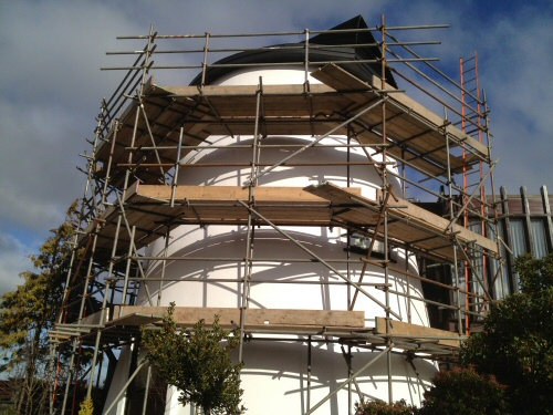 Example of the flexibility of tube and fitting scaffolding being used for access to paint an historic windmill in Kirkham, Lancashire