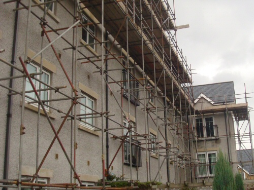 Scaffolding erected to a block of flats in Lancaster, Lancashire