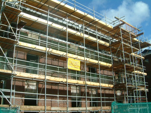 Scaffolding erected to office buildings near Leyland, Lancashire