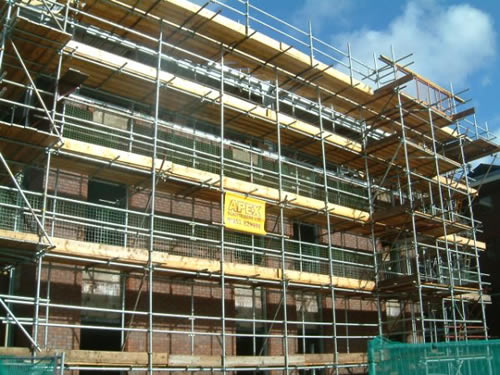 Apex scaffolding erected to large office block at Parkway, Manchester