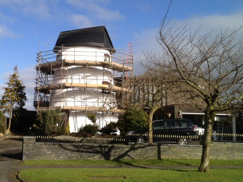 Tube and fitting scaffolding to the iconic windmill at Kirkham, Lancashire